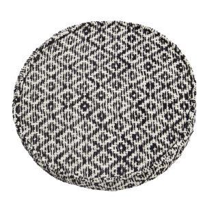 Black & White Woven Round Seat Pad