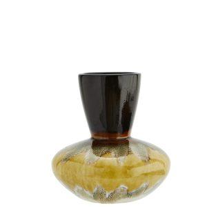 Mustard & Brown Stoneware V Neck Vase