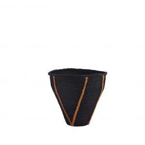 Black Seagrass Basket With Burn't Orange Stitch Detail