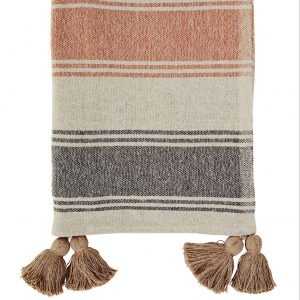 Orange & Charcoal Stripe Woven Throw with Tassels