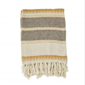 Mustard Stripe Woven Throw with Fringes