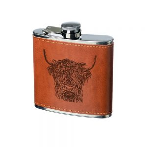 Highland Cow Engraved Leather Wrapped Hipflask