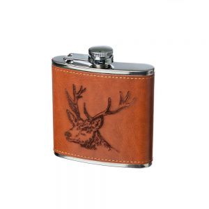 Stag Engraved Leather Wrapped Hipflask