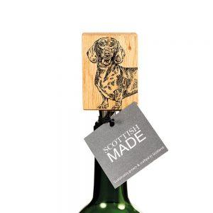 Dachshund Oak Bottle Stopper