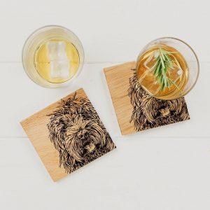 2 Cockapoo Oak Coasters Set