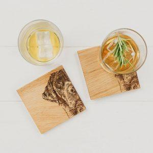 2 Labrador Oak Coasters Set