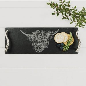 Small Highland Cow Engraved Slate Serving Tray