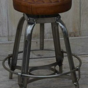 Industrial Style Metal Stool with Leather Seat