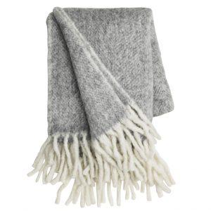 Grey & Off White Herringbone Throw