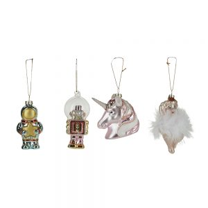 Set of 4 Assorted Fantasy Hanging Xmas Decorations
