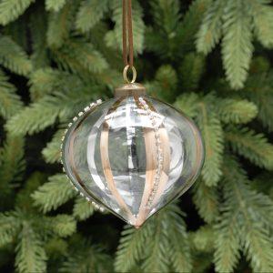 Clear Glass Onion Christmas Decoration