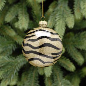 Zebra Print Gold Glass Ball