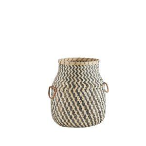 Grey & Natural Shaped Bamboo Storage Basket