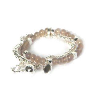 Beaded Bracelet with Grey Stone & Silver Charm