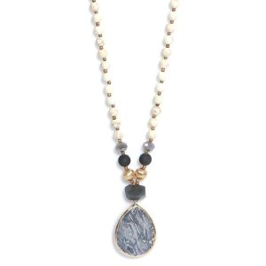Envy Long Suede Necklace with Semi Precious Stones and Grey Stone Pendant