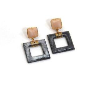 Black Square Resin Earrings