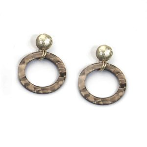 Gold Earrings with Taupe Resin Loop