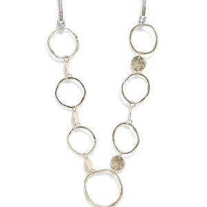 Envy Long Gold Loop Necklace with Grey Cord