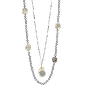 Envy Long Beaded Necklace with Gold Pendants