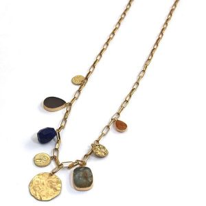 Envy Long Gold Necklace with Semi Precious Stone Pendants
