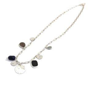 Envy Long Silver Necklace with Semi Precious Stone Pendants