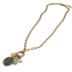 Envy Long Gold Chain Necklace with Opal Pendant