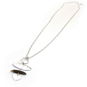 Envy Long Silver Necklace with Oval Pendant and Semi Precious Stone
