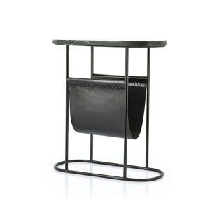Black Leather Magazine Rack & Side Table