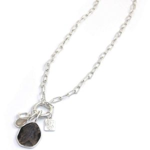 Envy Long Silver Chain Necklace with Grey Opal Pendant