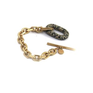 Gold Link Bracelet with Pendant and T Bar