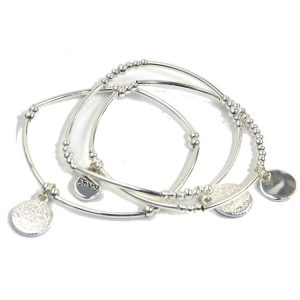 Multi-Layer Alloy Silver Bracelet with Coin Pendants
