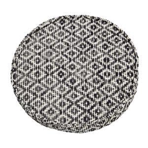 Black & White Round Woven Seat Pad