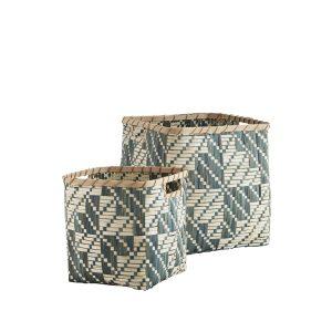 Square Sage Bamboo Storage Basket