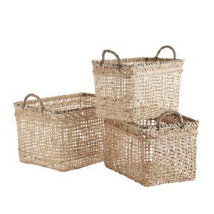 Natural Bamboo Basket with Handles