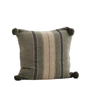 Dark Striped Cushion with Pom Pom's