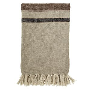Stripped Woven Throw with Fringes