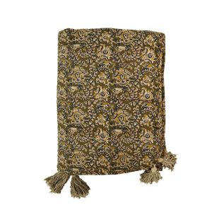 Olive Print Cotton Padded Throw
