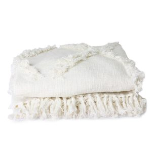 White Bedspread with Fringes