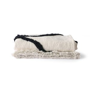 Natural and Black Woven Throw