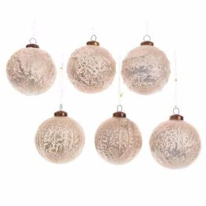Textured Glass Bauble – Pearl