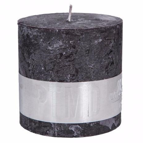 PTMD Rustic Charcoal Black Block Candle 10x10cm