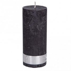Rustic Charcoal Black Pillar Candle 18x7cm