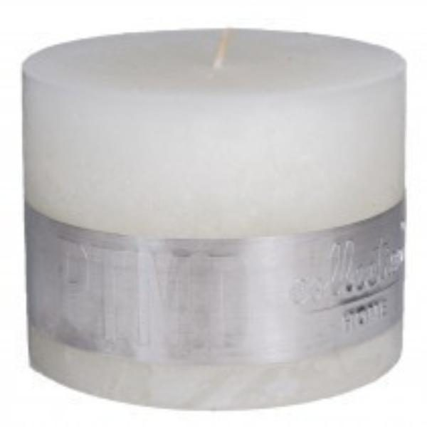 Rustic Hot White Block Candle 9x12cm