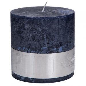 Rustic Night Blue Block Candle 10x10cm