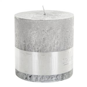 PTMD Metallic Silver Block Candle 10x10cm