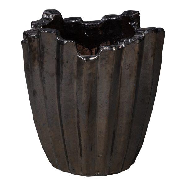 Uneven Bronze Ceramic Round Pot