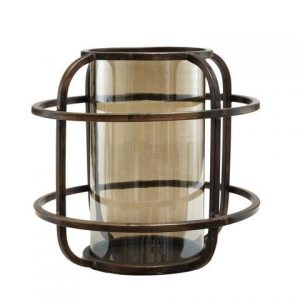 Zeph Iron Round Storm Light with Lustre Glass Small