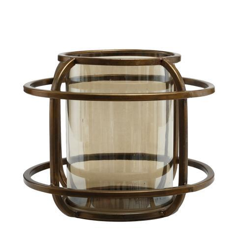 Zeph Iron Round Storm Light with Lustre Glass Large