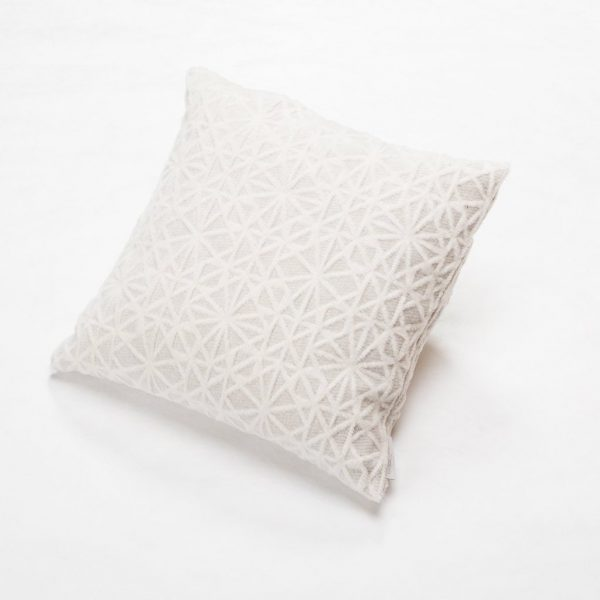 Off White Structured Grid Deco Cushion
