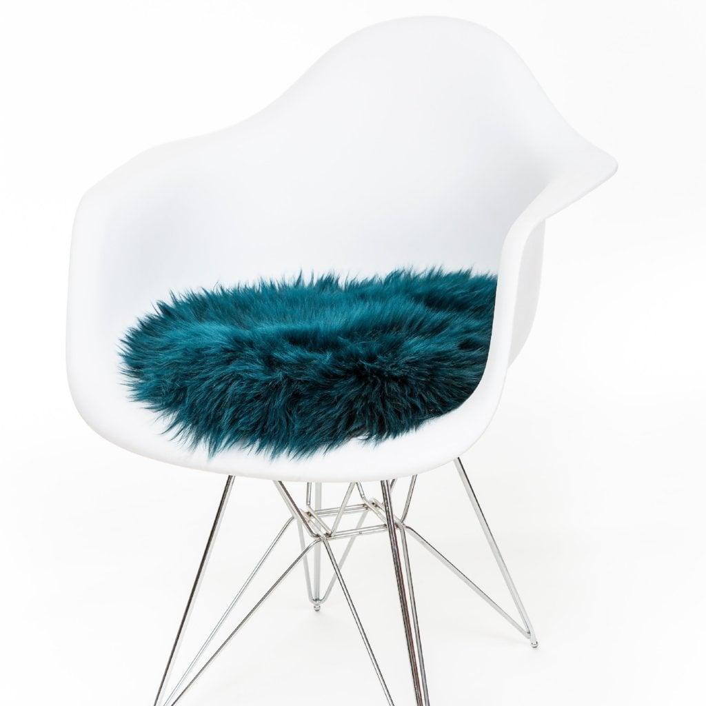 Silky Sheepskin Round Seat Pad in Caspian Green